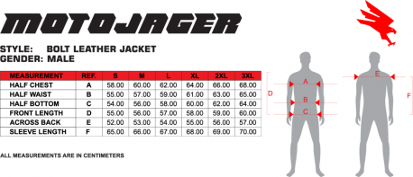 Bolt Jacket Size Chart