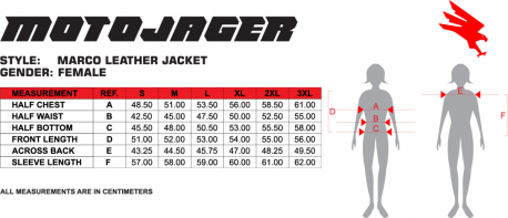 Marco Women's Jacket Size Chart